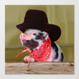 Puppy Cowboy Baby Piglet Farm Animals Babies Canvas Print