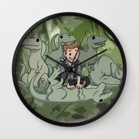 puppies Wall Clocks featuring Jurrasic puppies by DeanDraws