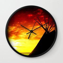 Tipi Sunset Wall Clock