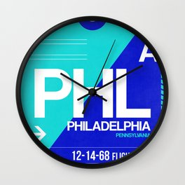 PHL Philadelphia Luggage Tag 1 Wall Clock