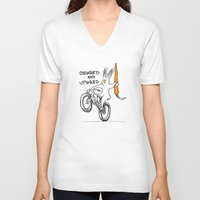 onward V-neck T-shirts featuring ONWARD AND UPWARD by Taj Mihelich