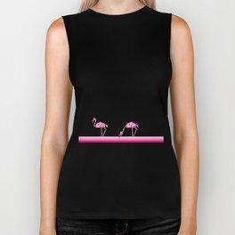 Pink flamingo pixel Biker Tank