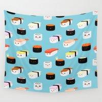 sushi Wall Tapestries featuring Sushi! by Sara Showalter