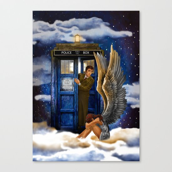 10th Doctor Who with Crying AngeL iPhone 4 4s 5 5s 5c, ipod, ipad, pillow case and tshirt Canvas Print