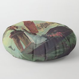 Paris Venice Victorian romantic travel Floor Pillow