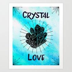 Blue Watercolor Boho Crystal Love Art Print