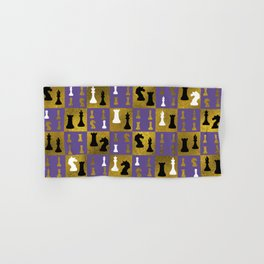 Violet Chessboard and Chess Pieces pattern Hand & Bath Towel
