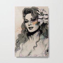 Edwige (street art sexy portrait of Edwige Fenech) Metal Print