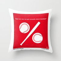 yankees Throw Pillows featuring No191 My Moneyball minimal movie poster by Chungkong