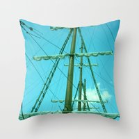 sailboat Throw Pillows featuring sailboat by Vickn