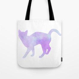Watercolour silhouette standing cat - purple / blue Tote Bag