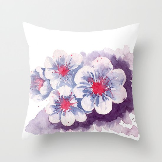 Watercolor cherry blossoms Throw Pillow