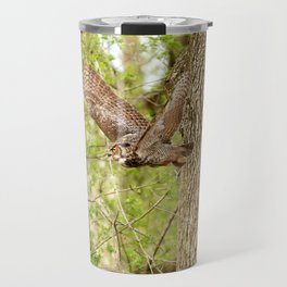 Great horned owl on the hunt Travel Mug