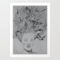 Birds in the head Art Print
