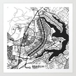 Brasilia Map Gray Art Print