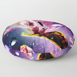 Outer Space Taco Cat - Rainbow Laser Eyes, Burrito Floor Pillow