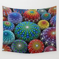 stone Wall Tapestries featuring Jewel Drop Mandala Stone Collection #1 by Elspeth McLean