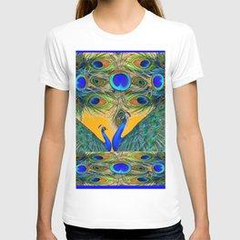 BLUE PEACOCKS  GOLDEN FEATHER DESIGN PATTERNS GN T-shirt