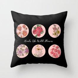 Hearts Like Wild Flowers Throw Pillow