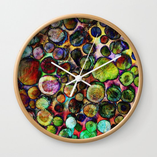 Colored Wood Pile 2 Wall Clock