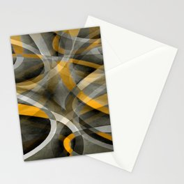 Eighties Retro Mustard Yellow and Grey Abstract Curves Stationery Cards