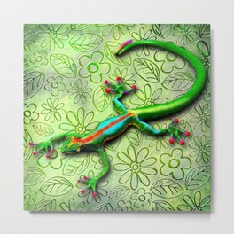 Gecko Lizard Rainbow Colors Metal Print