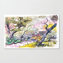 Japanese garden sketch Canvas Print