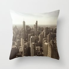 Chicago Buildings Sears Tower Sky Sun Color Photo Throw Pillow