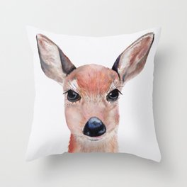 Watercolor Deer Throw Pillow