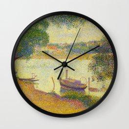 Gray weather Grande Jatte 1888 Oil Painting Pointillism Post-Impressionism Impressionism Modern art Wall Clock