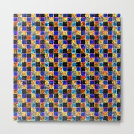 Black Yellow Gold and Blue Multicolored Patchwork Metal Print