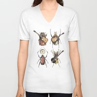 monster V-neck T-shirts featuring Meet the Beetles by Eric Fan