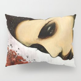 Time Can't Erase the Memory // Woman Portrait Painting Stars Tree Mountain Red Leaves Black Birds Pillow Sham