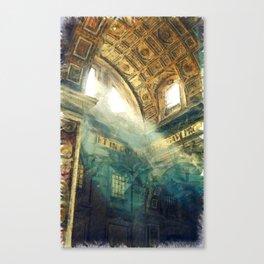 Sun Beam in St Peter's Basilica Canvas Print