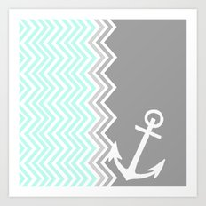 Nautical Chevron Art Print