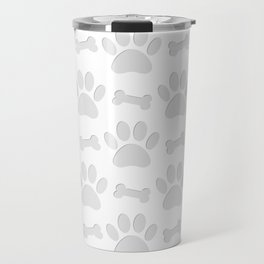 Paper Cut Dog Paws And Bones Pattern Travel Mug