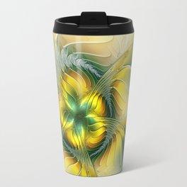 Golden Fantasy Flower, Fractal Art Travel Mug