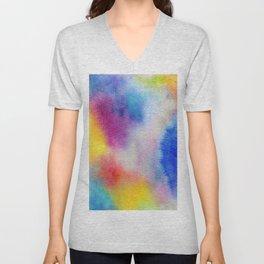 Abstract Watercolor Minimalist Rainbow - Fauve Unisex V-Neck