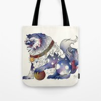 foo fighters Tote Bags featuring Foo Dog by Chanel Harris