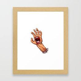 hand with mouth cartoon Framed Art Print