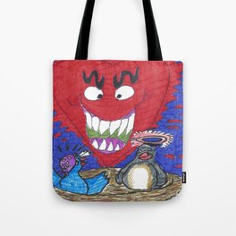 The Valentine Monster Meets The Love Birds Tote Bag