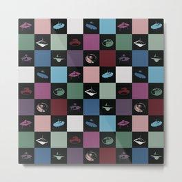 UFO checkered art print Metal Print