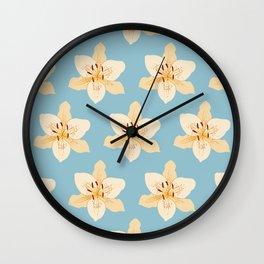 Day Lily Illustrative Pattern on Light Blue Wall Clock