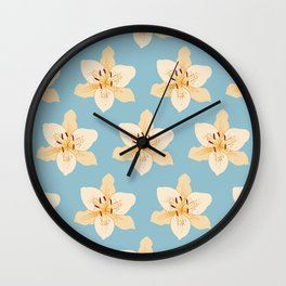 Day Lily Illustrative Pattern on Light Blue Wall Clock