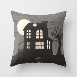 Haunted House on the Hill Throw Pillow