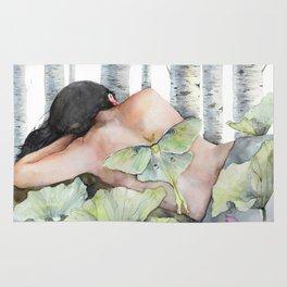 Sleeping in the Forest, Luna Moth Girl with Dark Hair Rug