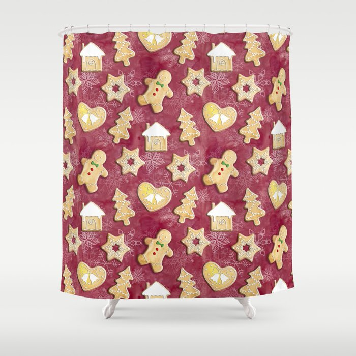 Gingerbread Christmas Cookies Shower Curtain By Gingerlique