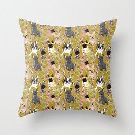 Floral French Bulldog Throw Pillow