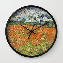 Poppy Field by Vincent van Gogh, 1890 painting Wall Clock