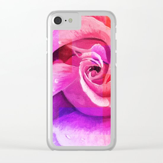 Retouched rose painting Clear iPhone Case